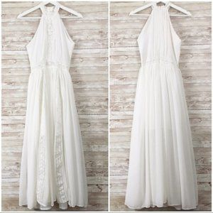 YiJiaYi White High Neck Lace Detail Maxi Dress XS